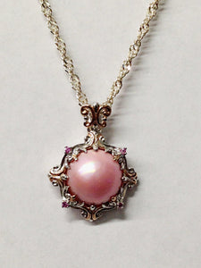 Pink Cabochon Sterling Silver Necklace