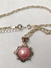 Load image into Gallery viewer, Pink Cabochon Sterling Silver Necklace