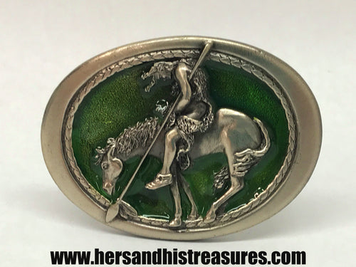 1982 Enameled Native American Indian Warrior Belt Buckle