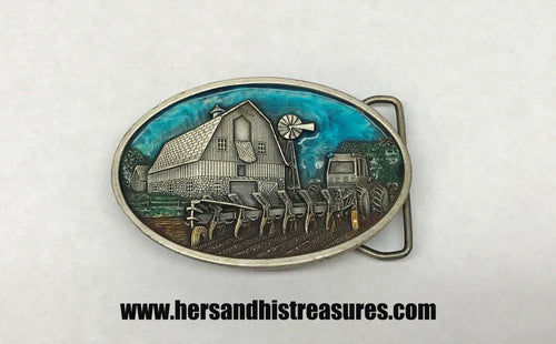 1984 Enamel Farming Pewter Belt Buckle Bergamot Brass Works