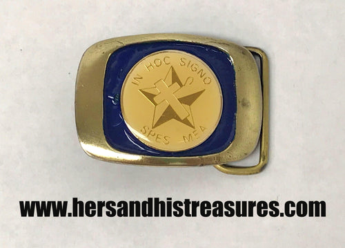 Vintage In Hoc Signo Spes Mea Brass Belt Buckle