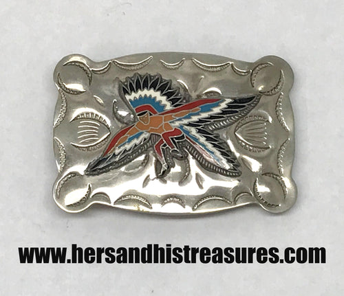 Vintage B-K Silversmiths Zuni Kachina Eagle Dancer Belt Buckle