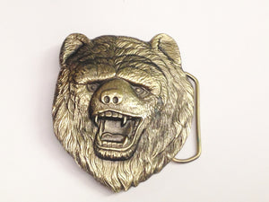 1980 Solid Brass Bear Belt Buckle USA 483 Dewey Miller The Great American Buckle Co. www.hersandhistreasures.com