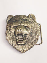 Load image into Gallery viewer, 1980 Solid Brass Bear Belt Buckle USA 483 Dewey Miller The Great American Buckle Co.