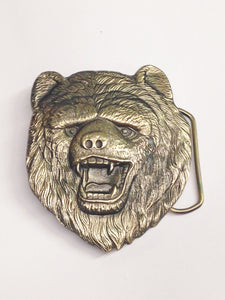 1980 Solid Brass Bear Belt Buckle USA 483 Dewey Miller The Great American Buckle Co.