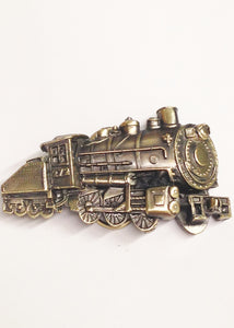 1980 The Great American Buckle Co. Locomotive Train And Tender Brass Belt Buckle www.hersandhistreasures.com