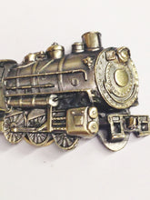 Load image into Gallery viewer, 1980 The Great American Buckle Co. Locomotive Train And Tender Brass Belt Buckle www.hersandhistreasures.com