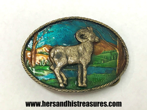1980 Bighorn Sheep Enamel Great American Buckle Co. Belt Buckle