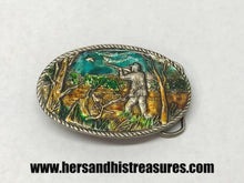 Load image into Gallery viewer, Enameled Bird Hunting Pewter Belt Buckle