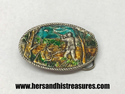Enameled Bird Hunting Pewter Belt Buckle