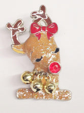 Load image into Gallery viewer, Vintage Rudolph The Red Nose Reindeer Brooch Pin With Bells www.hersandhistreasures.com