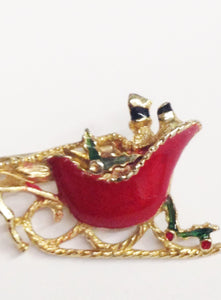Vintage Winter Christmas Sleigh Brooch Pin
