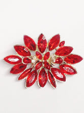 Load image into Gallery viewer, Vintage Blood Red Orange Flower Brooch Pin www.hersandhistreasures.com