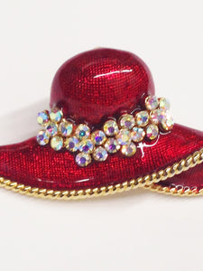 Enamel Red Hat Society Aurora Borealis Brooch Pin Or Slide Pendant