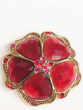 Load image into Gallery viewer, LC Liz Claiborne Red And Pink Rhinestone Flower Brooch Pin www.hersandhistreasures.com