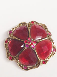 LC Liz Claiborne Red And Pink Rhinestone Flower Brooch Pin