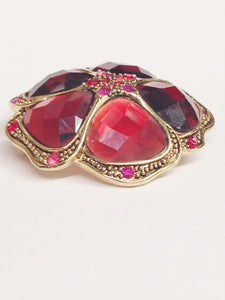 LC Liz Claiborne Red And Pink Rhinestone Flower Brooch Pin www.hersandhistreasures.com