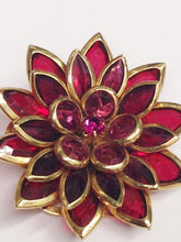 Load image into Gallery viewer, Vintage Gold Tone Pink Rhinestone Flower Brooch Pin www.hersandhistreasures.com