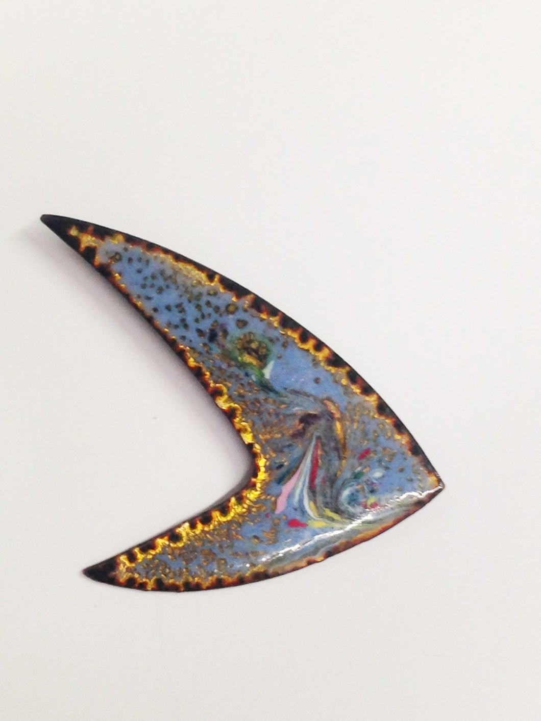 Vintage Enameled Modernist Metal Brooch Pin www.hersandhistreasures.com
