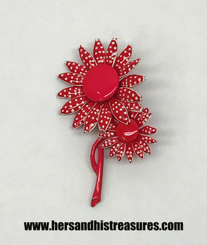 Vintage Red Daisy's With Polka Dots Metal Brooch Pin