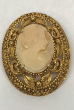 Load image into Gallery viewer, Florenza Carved Shell Cameo Brooch Pin