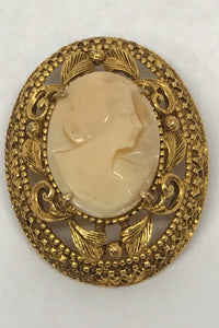 Florenza Carved Shell Cameo Brooch Pin