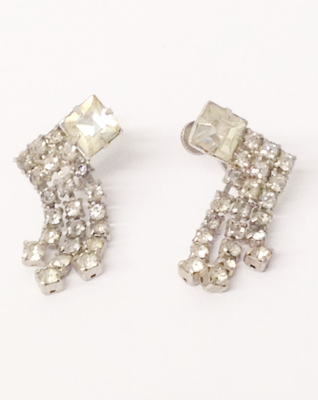 Antique 1900's Art Deco Clear Rhinestone Screw Back Earrings www.hersandhistreasures.com