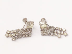 Antique 1900's Art Deco Clear Rhinestone Screw Back Earrings