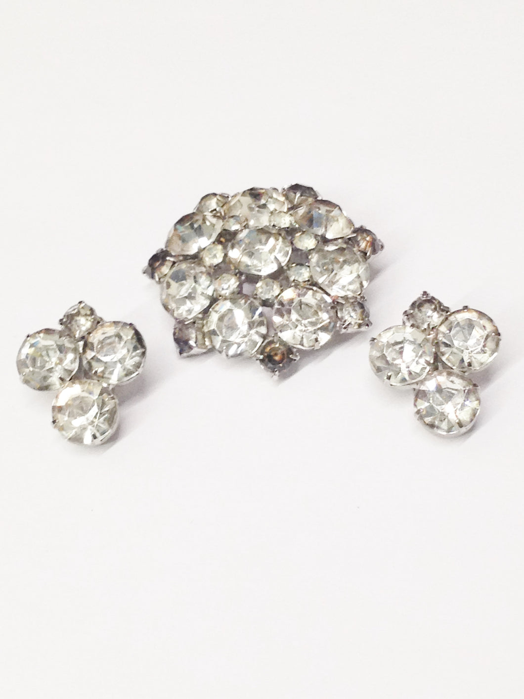 1940's Estate Jewelry Clear Rhinestone Brooch Pin and Clip On Earring Set www.hersandhistreasures.com