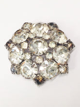 Load image into Gallery viewer, 1940's Estate Jewelry Clear Rhinestone Brooch Pin and Clip On Earring Set