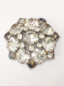1940's Estate Jewelry Clear Rhinestone Brooch Pin and Clip On Earring Set