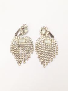 1940's Dangling Clear Rhinestone Clip On Earrings www.hersandhistreasures.com