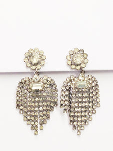 1940's Dangling Clear Rhinestone Clip On Earrings
