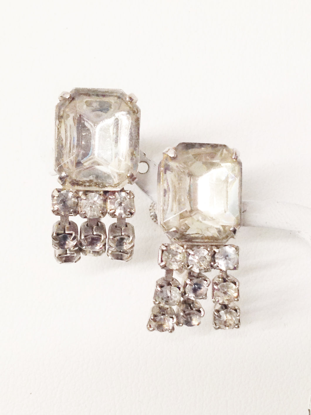Early 1900's Art Deco Clear Rhinestone Dangling Screw Back Earrings