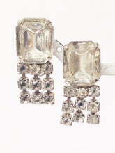 Load image into Gallery viewer, Early 1900's Art Deco Clear Rhinestone Dangling Screw Back Earrings