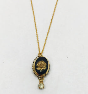 Vintage Gold Tone Rose Cameo Necklace