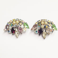 Load image into Gallery viewer, Estate Multi Rhinestone Clip On Earrings www.hersandhistreasures.com