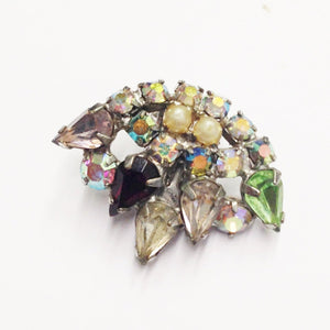 Estate Multi Rhinestone Clip On Earrings
