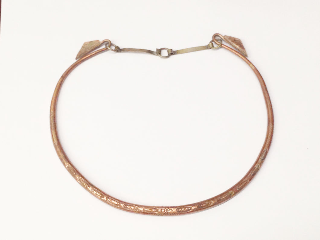Antique Copper Tribal Choker Necklace www.hersandhistreasures.com