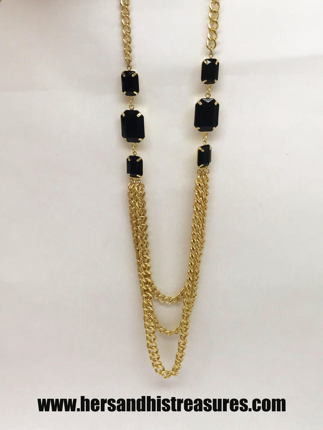 Vintage Gold Tone Triple Strand Chain Link Necklace With Faux Gem Accents