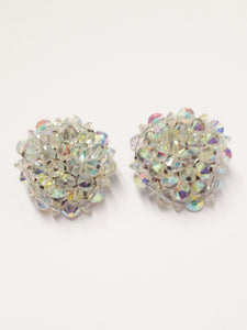 HOBE Aurora Borealis AB Beaded Cluster Clip On Estate Jewelry Earrings www.hersandhistreasures.com