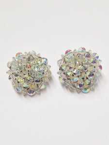 HOBE Aurora Borealis AB Beaded Cluster Clip On Estate Jewelry Earrings