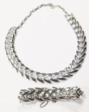 Load image into Gallery viewer, Coro Chevron Silver Tone Necklace And Bracelet Set www.hersandhistreasures.com