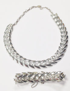 Coro Chevron Silver Tone Necklace And Bracelet Set