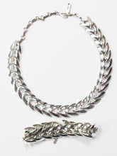 Load image into Gallery viewer, Coro Chevron Silver Tone Necklace And Bracelet Set