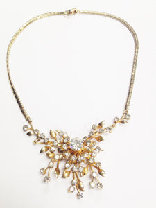 Coro Gold Tone Clear Rhinestone Starburst Flower Necklace www.hersandhistreasures.com