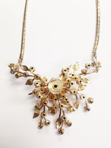 Coro Gold Tone Clear Rhinestone Starburst Flower Necklace