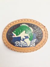 Load image into Gallery viewer, Leather Tooled And Painted Bass Fish Belt Buckle