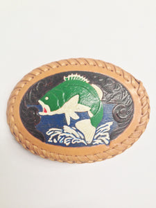 Leather Tooled And Painted Bass Fish Belt Buckle