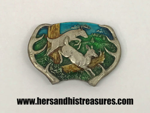 1977 Buck and Doe Deer Enamel Bergamot Brass Works Belt Buckle
